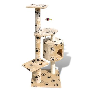 "Cat Tree Scratching Post 45"" 1 Condo Beige with Paw Prints[3/3]"