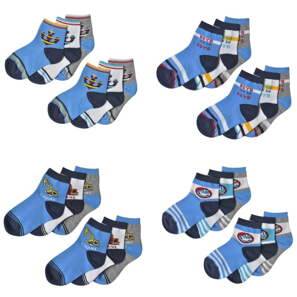 Dětské ponožky chlapecké, vel. 35-38, vicebarevné, 24 párů