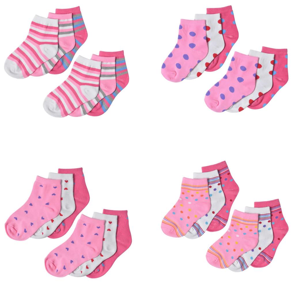 Dětské ponožky dívčí, vel. 23-26, vicebarevné, 24 párů