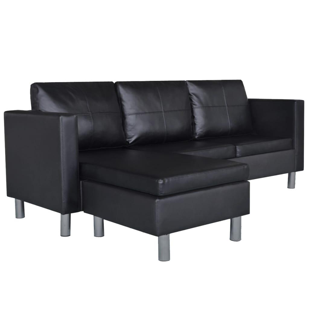99241979 L-förmiges Sofa 3-Sitzer Kunstleder Schwarz