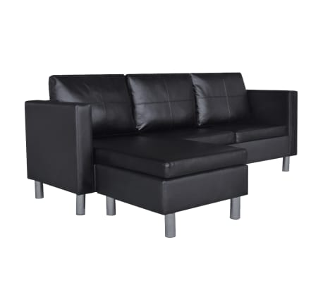 vidaXL Sectional Sofa 3-Seater Artificial Leather Black[2/9]