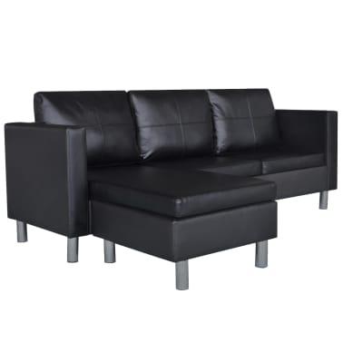 vidaXL Sofá modular de 3 plazas de cuero artificial negro[2/9]