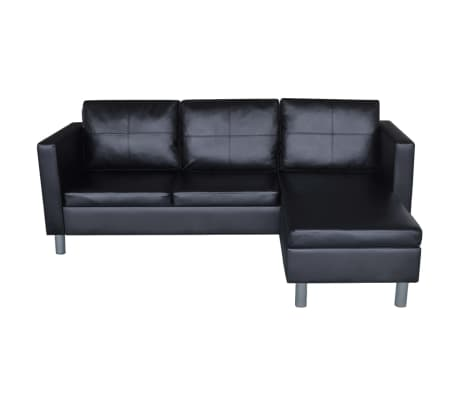 vidaXL Sofá modular de 3 plazas de cuero artificial negro[4/9]