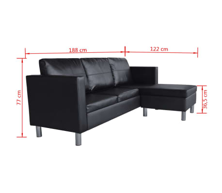 vidaXL Sectional Sofa 3-Seater Artificial Leather Black[9/9]
