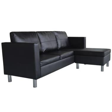 vidaXL Sofá modular de 3 plazas de cuero artificial negro[3/9]