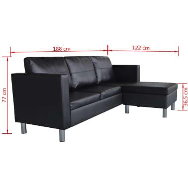 vidaXL Sofá modular de 3 plazas de cuero artificial negro[9/9]