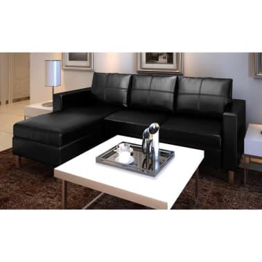 vidaXL Sofá modular de 3 plazas de cuero artificial negro[1/9]