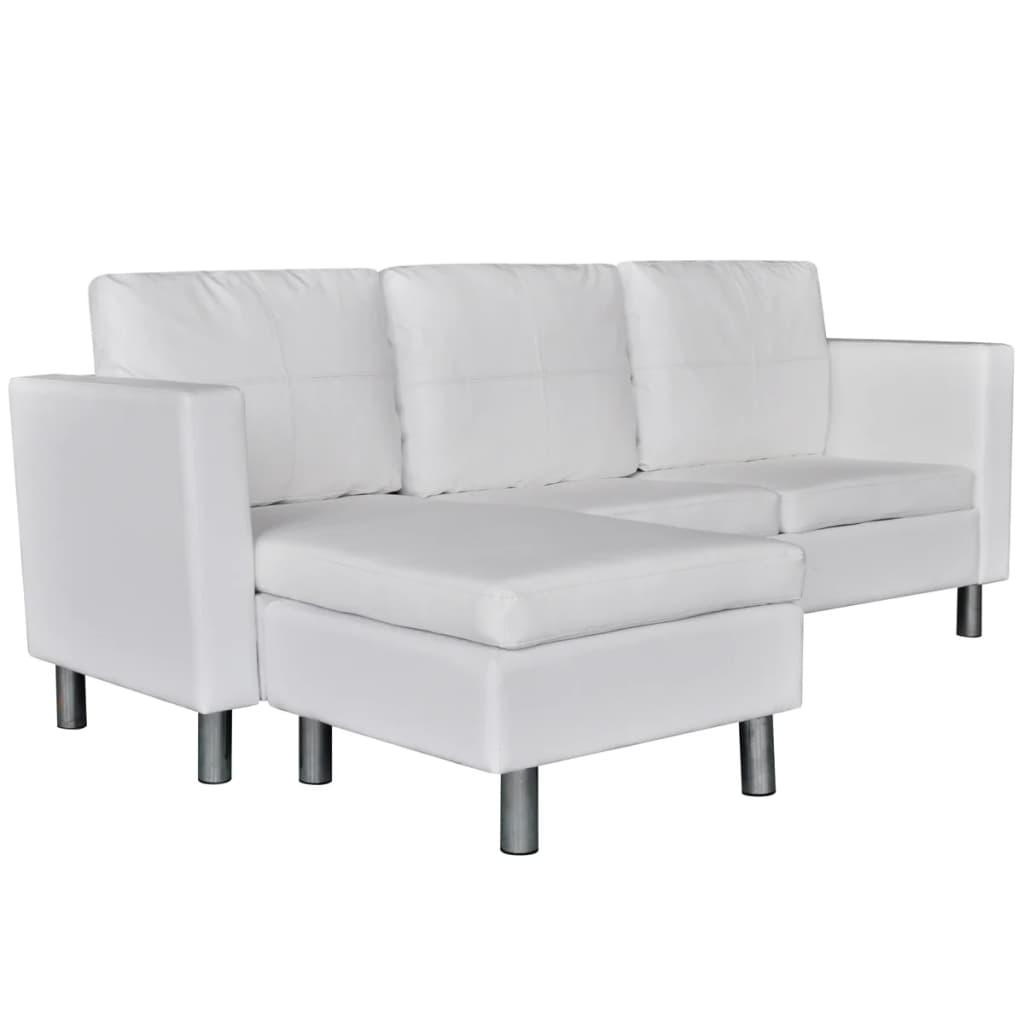 99241980 L-förmiges Sofa 3-Sitzer Kunstleder Weiß