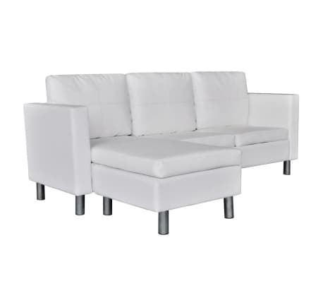 vidaXL Sectional Sofa 3-Seater Artificial Leather White