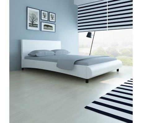 Vidaxl cama de cuero artificial blanca 140x200 cm - Camas de cuero ...