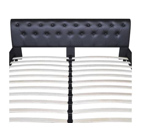 lit capitonn en cuir artificiel noir 180 x 200 cm. Black Bedroom Furniture Sets. Home Design Ideas