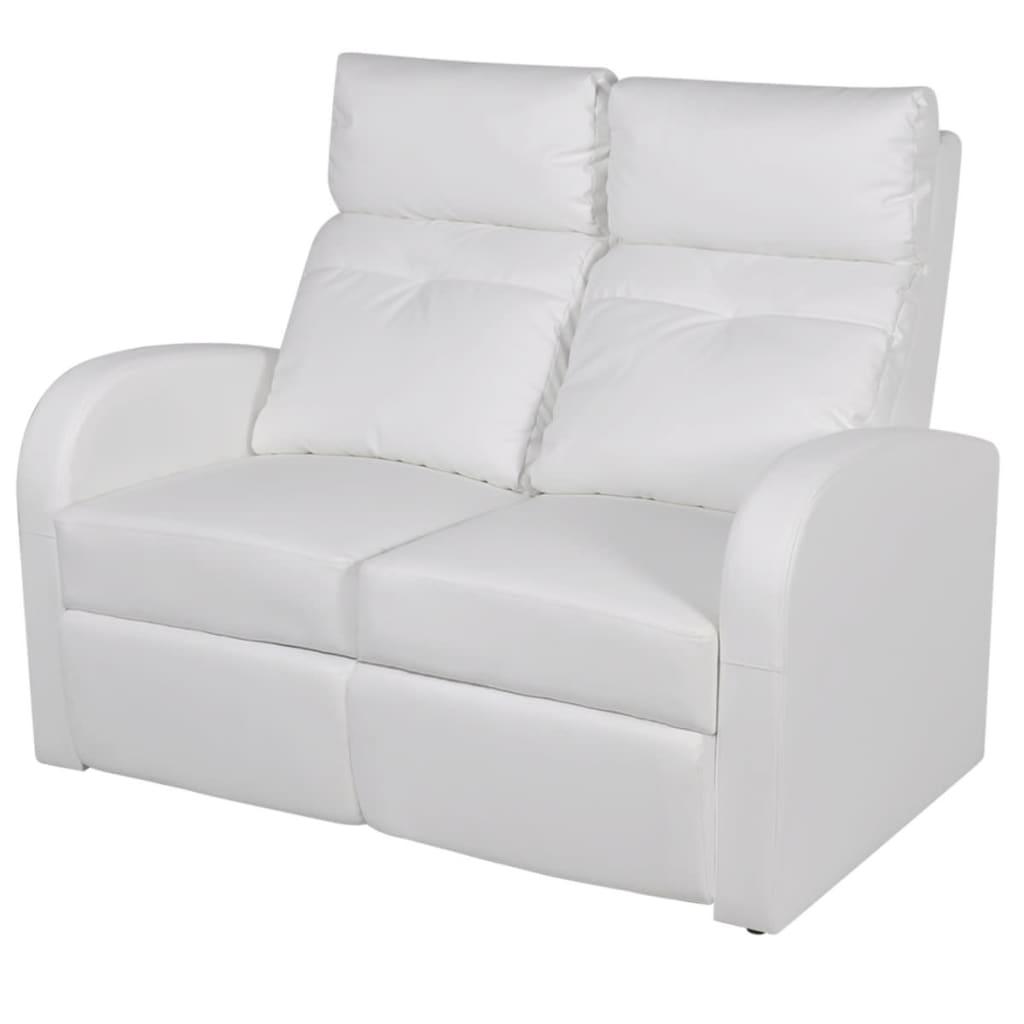 Afbeelding van vidaXL Dubbele relaxfauteuil zonder middenleuning kunstleer wit