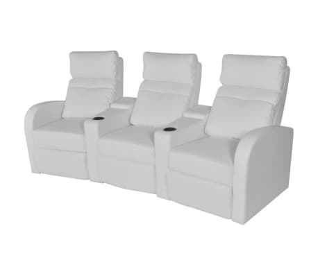 vidaXL Recliner 3-seat Artificial Leather White