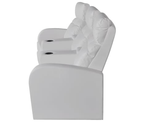 vidaXL Recliner 3-seat Artificial Leather White[3/7]