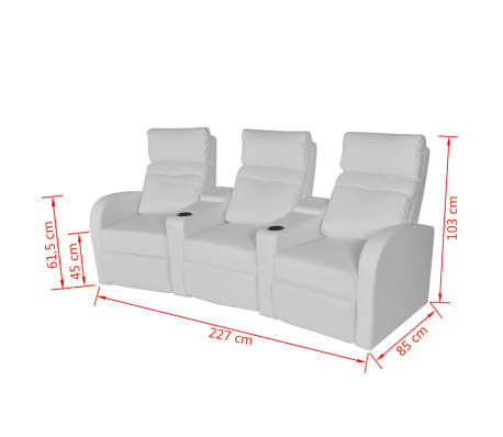 vidaXL Recliner 3-seat Artificial Leather White[7/7]