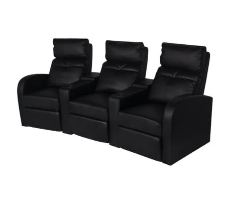 vidaXL Recliner 3-seat Artificial Leather Black