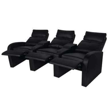 vidaXL Polohovací trojsedačkové křeslo umělá kůže černá[2/6]