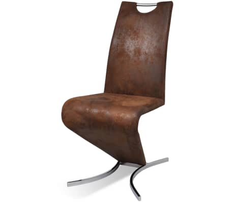 Set Of 2 Brown Artificial Leather Cantilever Chair With H