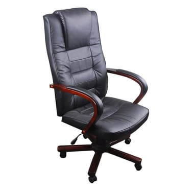 Black Office Chair Artificial Leather Height Adjustable[1/5]
