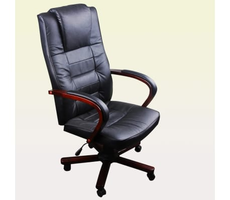Black Office Chair Artificial Leather Height Adjustable[3/5]