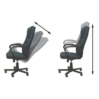 Black Office Chair Artificial Leather Height Adjustable[2/5]