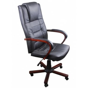 Black Office Chair Artificial Leather Height Adjustable[4/5]