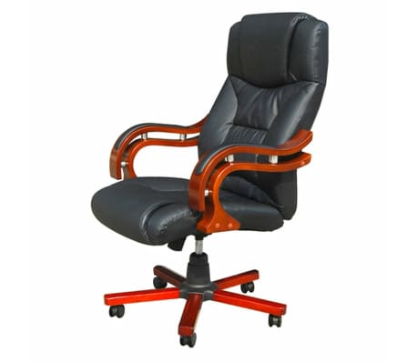 Black Real Leather Office Chair[1/5]