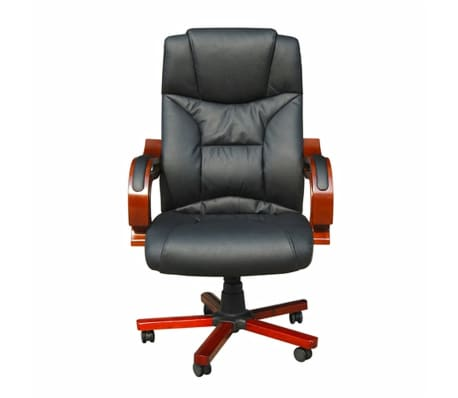 Black Real Leather Office Chair[2/5]