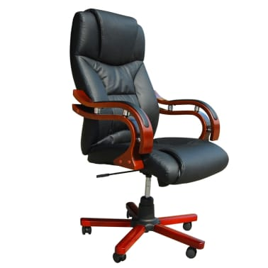 Black Real Leather Office Chair[3/5]