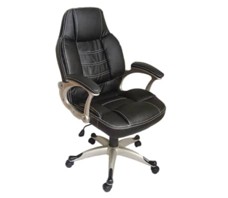 Black Office Chair High Back Real Leather[1/2]