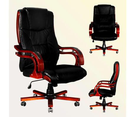 Black Real Leather Office Chair High Back[2/7]