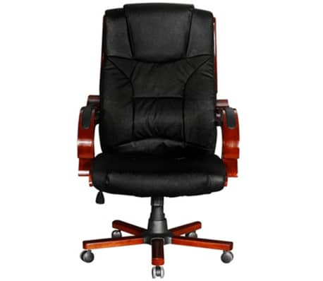 Black Real Leather Office Chair High Back[4/7]