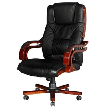 Black Real Leather Office Chair High Back[3/7]