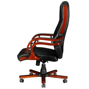Black Real Leather Office Chair High Back[5/7]
