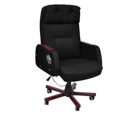 Black Adjustable Artificial Leather Office Chair Recliner