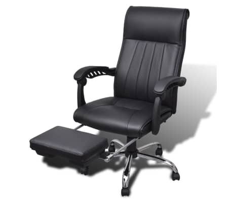 Black Artificial Leather Office Chair with Adjustable Footrest[1/8]