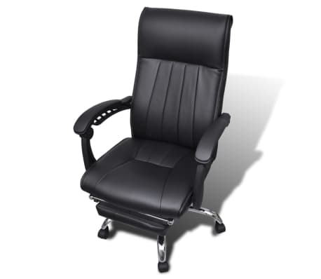 Black Artificial Leather Office Chair with Adjustable Footrest[3/8]