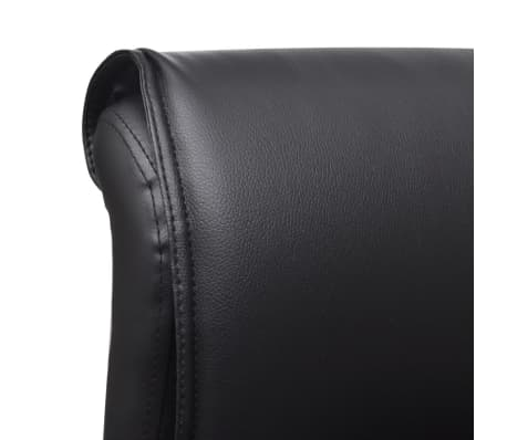 Black Artificial Leather Office Chair with Adjustable Footrest[5/8]