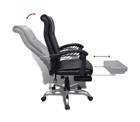 Black Artificial Leather Office Chair with Adjustable Footrest[7/8]