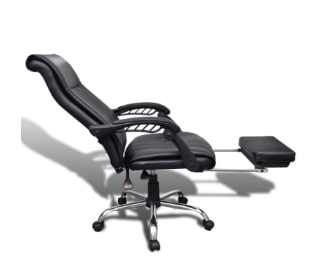 Black Artificial Leather Office Chair With Adjustable