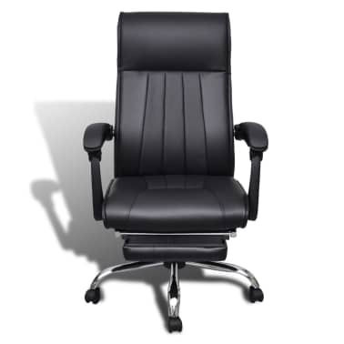 Black Artificial Leather Office Chair with Adjustable Footrest[2/8]