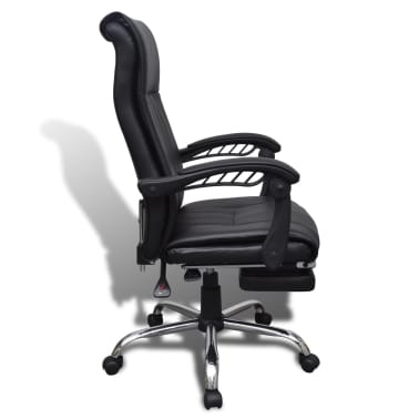 Black Artificial Leather Office Chair with Adjustable Footrest[6/8]