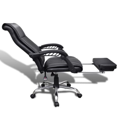 Black Artificial Leather Office Chair with Adjustable Footrest[8/8]