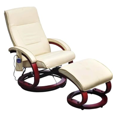 vidaXL Electric TV Recliner Massage Chair with Footstool Cream White[1/6]