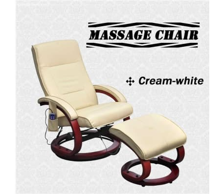 vidaXL Electric TV Recliner Massage Chair with Footstool Cream White[6/6]