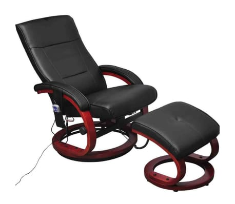 vidaXL Electric TV Recliner Massage Chair with Footstool Black[1/5]