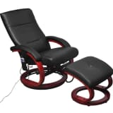 vidaXL Electric TV Recliner Massage Chair with Footstool Black
