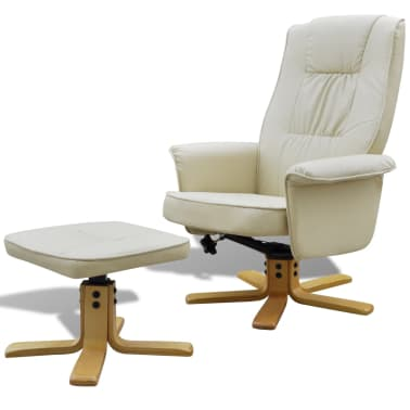 Cream White TV Armchair Recliner Artificial Leather with Footstool[1/8]