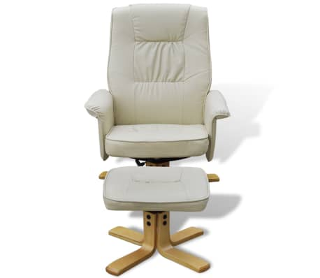 Cream White TV Armchair Recliner Artificial Leather with Footstool[4/8]