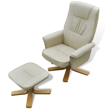 Cream White TV Armchair Recliner Artificial Leather with Footstool[2/8]